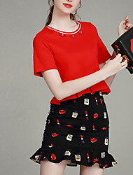 MIUCO  Women's Going out Simple Summer Set,Solid Round Neck Short Sleeve Red  Cotton / Nylon Thin