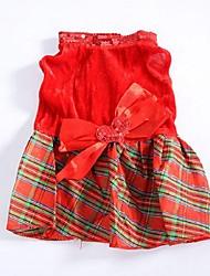 Cães Vestidos Vermelho Roupas para Cães Inverno / Primavera/Outono Xadrez Da Moda / Natal