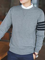 Herren Pullover-Einfarbig Freizeit Baumwolle Lang Blau / Grau