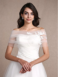 Women's Wrap Shrugs Sleeveless Tulle Ivory Wedding Party/Evening Off-the-shoulder 30cm Appliques Clasp