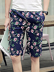 Men's Print Casual Shorts,Polyester Blue / Green