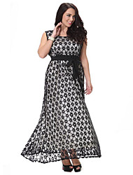Women's Plus Size Vintage Lace Dress,Polka Dot Round Neck Maxi Sleeveless Polyester Summer High Rise Micro-elastic Medium