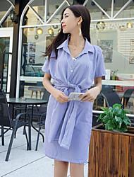 Women's Going out Simple Shirt Dress,Striped Shirt Collar Knee-length Short Sleeve Blue Polyester Summer