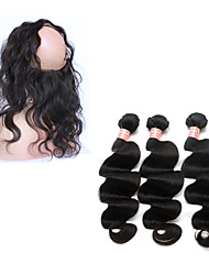 "7A Peruvian Virgin Hair Body Wave Ear To Ear 360 Lace Frontal Closure With Bundles 10""-26"""