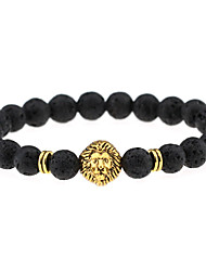 Men Women Jewelry Gold/Silver Plated Lion Head Buddha Charm Bracelet Black Lava Stone Bracelets