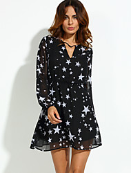 Women's Party/Cocktail Sexy Loose Dress,Galaxy V Neck Above Knee Long Sleeve Black Polyester Summer