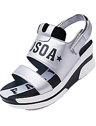 Women's Sandals Summer / Fall Creepers Leatherette Casual Low Heel Magic Tape Black / Silver Others