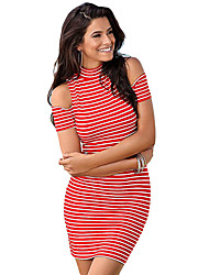 Women's Shoulder-revealing Crew Neck White Red Stripe Mini Dress