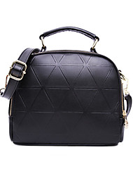 Lady Casual Shoulder Bag Embossed Triangular Plaid pattern Solid Color Tote Coin Purse Package