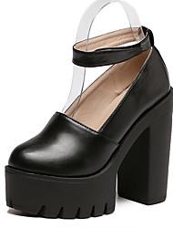 Черный / Белый-Женский-Для праздника-Полиуретан-На толстом каблуке-На каблуках / С круглым носком-Обувь на каблуках