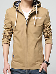 Men's Long Sleeve Casual / Sport Jacket,Cotton / Acrylic / Polyester Letter Black / Blue / Red / Beige 916344