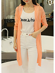 Women's Casual/Daily Simple Long Cardigan,Solid Multi-color Shirt Collar Long Sleeve Polyester Spring Thin