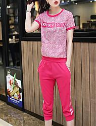 De las mujeres Activo Deportes Verano Conjunto,Escote Redondo Estampado Manga Corta Algodón Rojo Fino