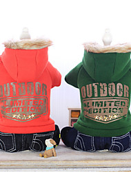 Dog Jeans Green / Orange Winter Jeans Keep Warm, Dog Clothes / Dog Clothing