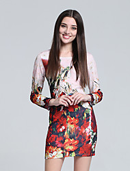 Women's Club Chinoiserie Sheath Dress,Floral Round Neck Mini Long Sleeve Pink Cotton Fall High Rise Micro-elastic Thin