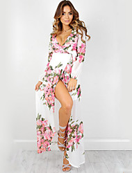 Women's Going out Boho Swing Dress,Floral Deep V Maxi Long Sleeve White Polyester Summer