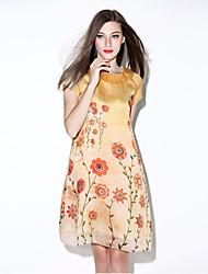 i-yecho Frauen einfachen Blumen Etuikleid, Rundhalsausschnitt über Knie Polyester
