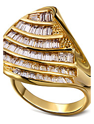 European Design Women Luxury Cubic Zirconia Festival Parties Ring Rectangle Shape CZ Setting 18K Gold Platinum Plated
