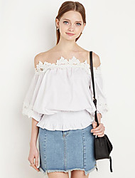 Women's Casual/Daily Street chic Summer Blouse,Solid Boat Neck ½ Length Sleeve Blue / White Cotton Medium