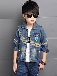 Boy's Cotton Spring/Autumn Fashion Cartoon Print Patchwork Cowboy Outerwear Long Sleeve Sport Denim Jacket Coat