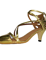 Non Customizable Women's Dance Shoes Leatherette Leatherette Modern / Swing Shoes Heels Chunky Heel Beginner / Gold