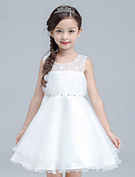 A-line Knee-length Flower Girl Dress - Cotton Organza Satin Jewel with Beading Sequins