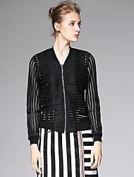 AFOLD® Damen Ständer Lange Ärmel Pullover & Cardigan Schwarz / Weiß-6011