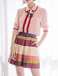 Women's Going out Cute Spring Set,Striped / Color Block Shirt Collar Short Sleeve Pink Rayon / Polyester Thin