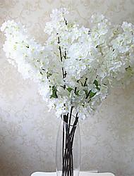 1pc 1 Une succursale Polyester / Plastique Cerisier du Japon Fleur de Table Fleurs artificielles 39.37inch/100CM
