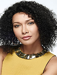 Unprocessed Black Color Brazilian Virgin Human Hair Short Style Natural Curly Lace Front Wig With Baby Hair