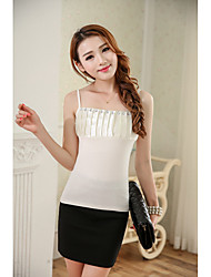 Women's Casual/Daily /  Cute Summer Tank Top,Solid Strap Sleeveless White / Black Modal Thin