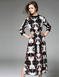 Jojo Ганса женщин происходит из сексуальный / милый платье оболочки, печать шеи экипажа миди ¾ рукав черный шелк /