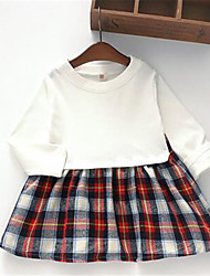 Girl's Casual/Daily Plaid Dress,Cotton Spring / Fall Blue / White