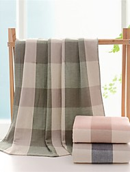 """1PC Full Cotton Bath Towel 27"""" by 55"""" Plaid Pattern Super Soft Strong Water Absorption Capacity"""