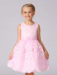 A-line Knee-length Flower Girl Dress - Cotton / Organza / Satin Sleeveless Jewel with Embroidery / Flower(s)