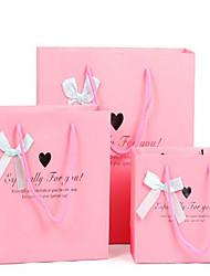 cadeau de luxe de sacs en papier sacs personnalisés sacs à main amour sacs pourpres cadeau de mariage sacs rose un paquet de cinq