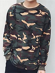 Pull à capuche & Sweatshirt Pour des hommes Camouflage Décontracté Coton / Polyester Manches longues Vert