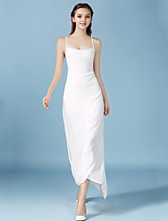 Women's Beach Simple Sheath Dress,Solid Strap Maxi Sleeveless White Polyester Summer