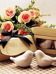 """""""Kissing Birds"""" Ceramic Salt & Pepper Shakers Wedding Favor"""