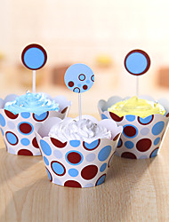 Birthday Party Tableware-24Piece/Set Cake Accessories Tag Card Paper Classic Theme