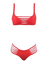 Women's Bandeau Sell Well Bikini,Cutout / Retro / Solid / Sport / Mesh Polyester Red / Dark Green