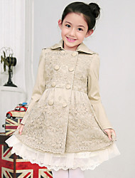 Girl's Cotton Spring/Autumn Fashion Lace Patchwork Double-breasted Long Trench Coat
