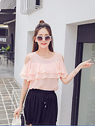 Women's Casual/Daily Cute Summer Blouse,Solid Round Neck Short Sleeve Pink / Yellow Polyester Thin