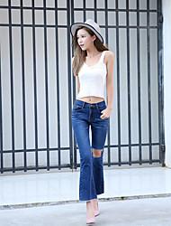 Feminino Bootcut Jeans Calças-Cor Única Simples Poliéster Inelástico Com Molas / Verão