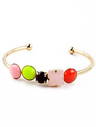 Bohemian Rhinestone Cuff Bracelets Golden Candy Color Bracelet Fashionable Geometric Alloy Jewellery