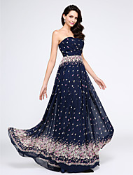 TS Couture Prom Formal Evening Dress - Pattern Dress A-line Strapless Floor-length Chiffon with Pattern / Print Criss Cross