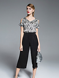 Boutique S Women's Going out Vintage Spring Set Pant,Geometric Off Shoulder Short Sleeve Black Silk Opaque
