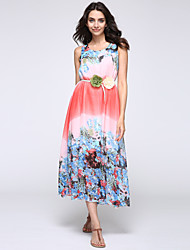 2016 Summer New Bohemian Beach Chiffon Flower Print Dress