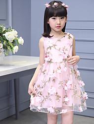 A-line Knee-length Flower Girl Dress - Tulle / Polyester Sleeveless Jewel with Flower(s)