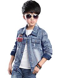 Boy's Cotton Spring/Autumn Fashion Patchwork Cartoon Print Cowboy Outerwear Long Sleeve Denim Jacket Coat